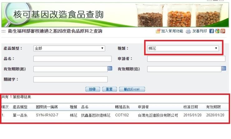 核准基改食品原料查詢五之二