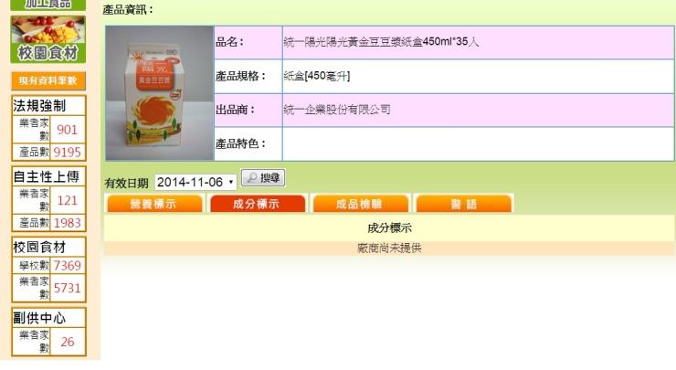 非追不可-黃金豆豆漿(成分標示)